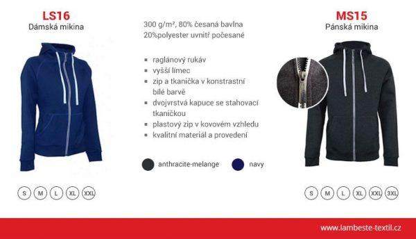 DÁMSKÁ MIKINA s bielym zipsom a kapucňou - LS16 9 - Brakon s.r.o