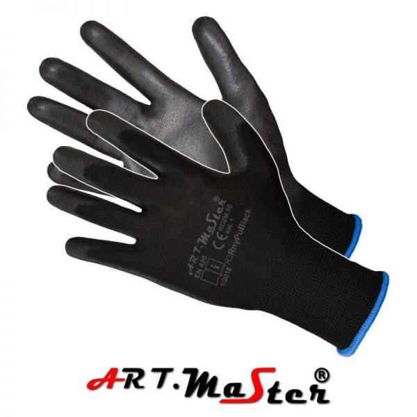 RnyPu čierna- rukavice povrstvene PU 0,29/ks odber 12párov 3 - Brakon s.r.o