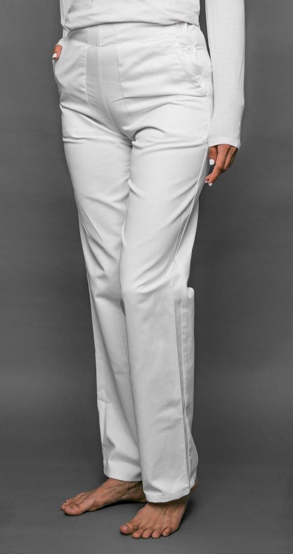 Biele nohavice dámske, vzadu na gumu, zapínanie na gombíky z boku FA 105 3 - Brakon s.r.o