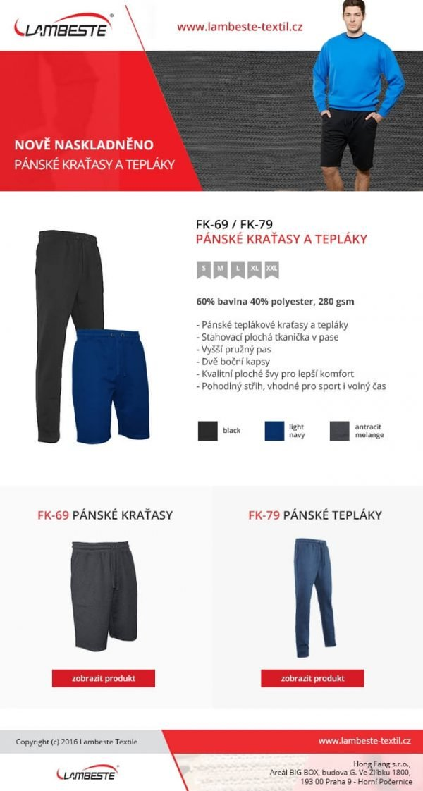 Pánske teplákové kraťasy FK69 7 - Brakon s.r.o